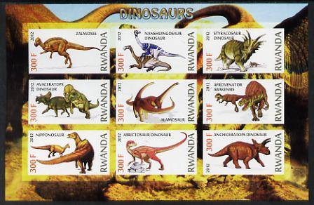 Rwanda 2012 Dinosaurs imperf sheetlet containing 9 values unmounted mint