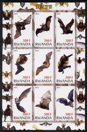 Rwanda 2012 Bats perf sheetlet containing 9 values unmounted mint