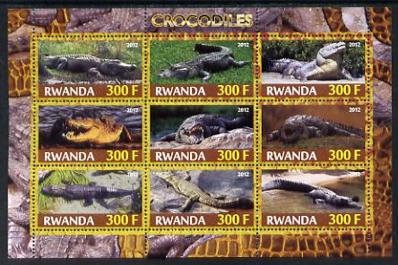 Rwanda 2012 Crocodiles perf sheetlet containing 9 values unmounted mint