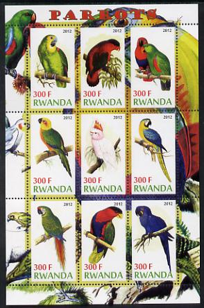 Rwanda 2012 Parrots perf sheetlet containing 9 values unmounted mint