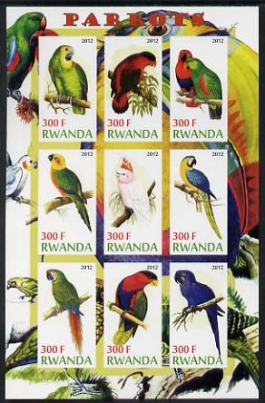 Rwanda 2012 Parrots imperf sheetlet containing 9 values unmounted mint