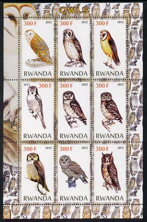 Rwanda 2012 Owls perf sheetlet containing 9 values unmounted mint