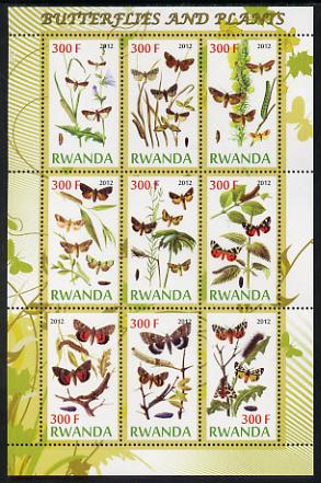 Rwanda 2012 Butterflies & Plants #1 perf sheetlet containing 9 values unmounted mint