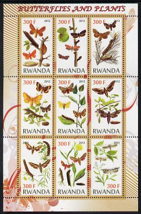 Rwanda 2012 Butterflies & Plants #2 perf sheetlet containing 9 values unmounted mint