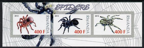 Rwanda 2012 Spiders imperf sheetlet containing 3 values unmounted mint
