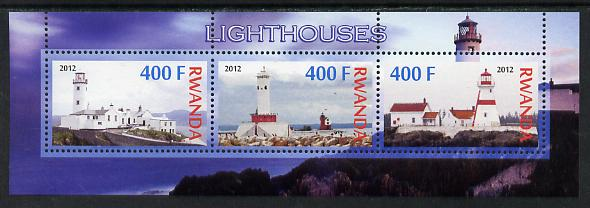 Rwanda 2012 Lighthouses perf sheetlet containing 3 values unmounted mint