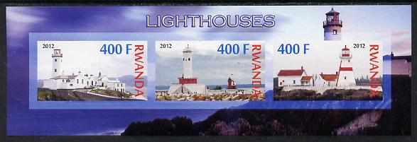 Rwanda 2012 Lighthouses imperf sheetlet containing 3 values unmounted mint