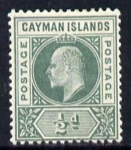 Cayman Islands 1901-03 KE7 Crown CA 1/2d green mounted mint SG 3