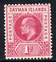 Cayman Islands 1901-03 KE7 Crown CA 1d carmine mounted mint SG 4