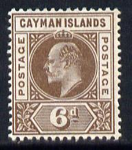 Cayman Islands 1901-03 KE7 Crown CA 6d brown mounted mint SG 6