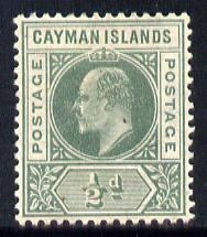 Cayman Islands 1905 KE7 MCA (Postage) 1/2d green mounted mint SG 8