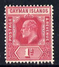 Cayman Islands 1907-09 KE7 MCA (Postage & Revenue) 1d carmine mounted mint SG 26