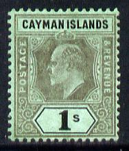 Cayman Islands 1907-09 KE7 MCA (Postage & Revenue) 1s black on green mounted mint SG 31