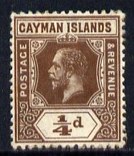 Cayman Islands 1912-20 KG5 MCA 1/4d brown mounted mint SG 40