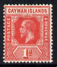 Cayman Islands 1912-20 KG5 MCA 1d red mounted mint SG 42