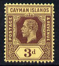 Cayman Islands 1912-20 KG5 MCA 3d purple on yellow (white back) mounted mint SG 45a