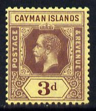 Cayman Islands 1912-20 KG5 MCA 3d purple on yellow (yellow back) mounted mint SG 45b