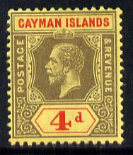 Cayman Islands 1912-20 KG5 MCA 4d black & red on yellow mounted mint SG 46