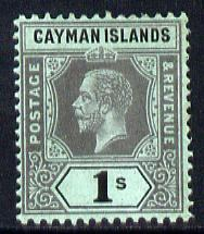Cayman Islands 1912-20 KG5 MCA 1s black on green (green back) mounted mint SG 48
