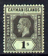 Cayman Islands 1912-20 KG5 MCA 1s black on green (white back) mounted mint SG 48b