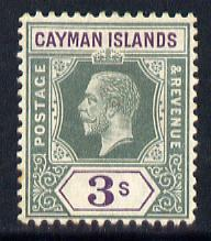 Cayman Islands 1912-20 KG5 MCA 3s green & violet mounted mint SG 50