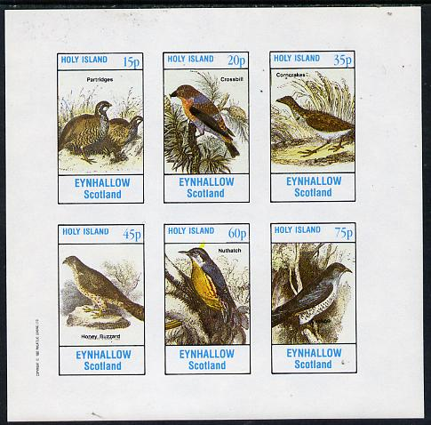 Eynhallow 1982 Birds #07 (Patridges, Buzzard, Nuthatch & Cuckoo) imperf set of 6 values (15p to 75p) unmounted mint
