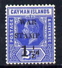Cayman Islands 1917 War Tax 1.5d on 2.5d deep blue mounted mint SG 54