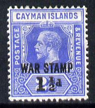 Cayman Islands 1917 War Tax 1.5d on 2.5d deep blue mounted mint SG 56