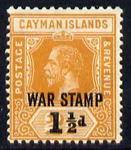 Cayman Islands 1919-20 War Tax 1.5d on 2.5d orange mounted mint SG 59