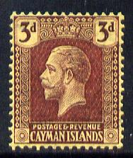 Cayman Islands 1921-26 KG5 Script CA 3d purple on yellow mounted mint SG 75