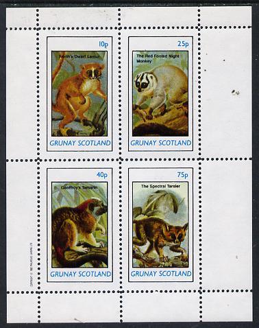 Grunay 1982 Animals (Lemur, Monkey, etc) perf  set of 4 values (10p to 75p) unmounted mint