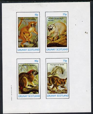 Grunay 1982 Animals (Lemur, Monkey, etc) imperf  set of 4 values (10p to 75p) unmounted mint