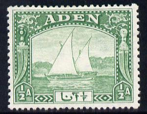 Aden 1937 Dhow 1/2a yellow-green mounted mint, SG 1