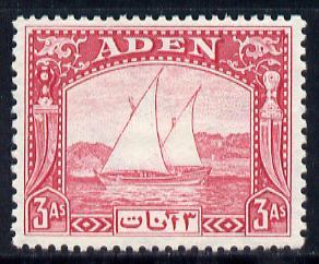 Aden 1937 Dhow 3a carmine mounted mint, SG 6