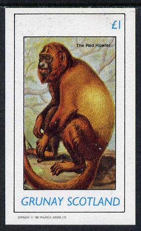 Grunay 1982 Animals (Red Howler Monkey) imperf souvenir sheet (�1 value) unmounted mint