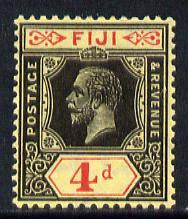 Fiji 1912-23 KG5 MCA 4d black & red on pale yellow (die II) mounted mint SG 131d