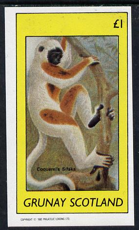 Grunay 1982 Animals (Coquerels Sifaka) imperf souvenir sheet (�1 value) unmounted mint