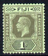 Fiji 1912-23 KG5 MCA 1s black on green (emerald back die II mounted mint SG 134d