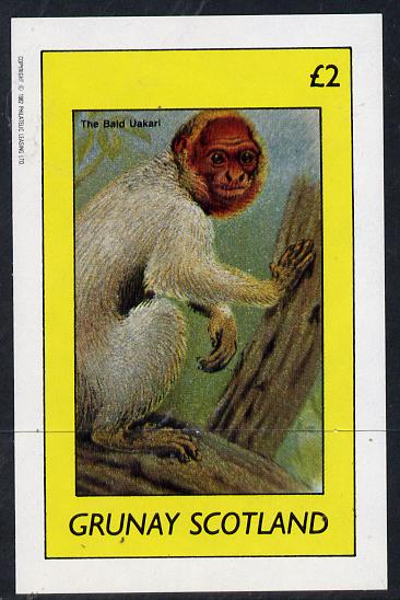 Grunay 1982 Animals (Bald Uakari) imperf deluxe sheet (�2 value) unmounted mint