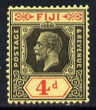 Fiji 1912-23 KG5 Script CA 4d black & red on yellow mounted mint SG 235