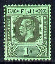 Fiji 1912-23 KG5 Script CA 1s black on emerald mounted mint SG 238