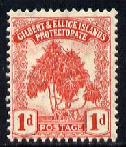 Gilbert & Ellice Islands 1911 Pandanus Pine 1d carmine mounted mint SG 9