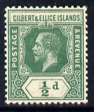 Gilbert & Ellice Islands 1912-24 KG5 MCA 1/2d green mounted mint SG 12