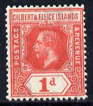 Gilbert & Ellice Islands 1912-24 KG5 MCA 1d red mounted mint SG 13