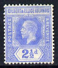 Gilbert & Ellice Islands 1912-24 KG5 MCA 2.5d bright blue mounted mint SG 15