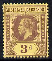 Gilbert & Ellice Islands 1912-24 KG5 MCA 3d purple on yellow mounted mint SG 16