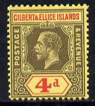 Gilbert & Ellice Islands 1912-24 KG5 MCA 4d black & red on yellow mounted mint SG 17
