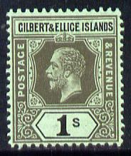 Gilbert & Ellice Islands 1912-24 KG5 MCA 1s black on green mounted mint SG 20