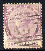 Dominica 1877-79 QV Crown CC P14 1s magenta light A07 cancel SG 9