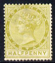 Dominica 1883-86 QV Crown CA 1/2d olive-green mounted mint SG 13